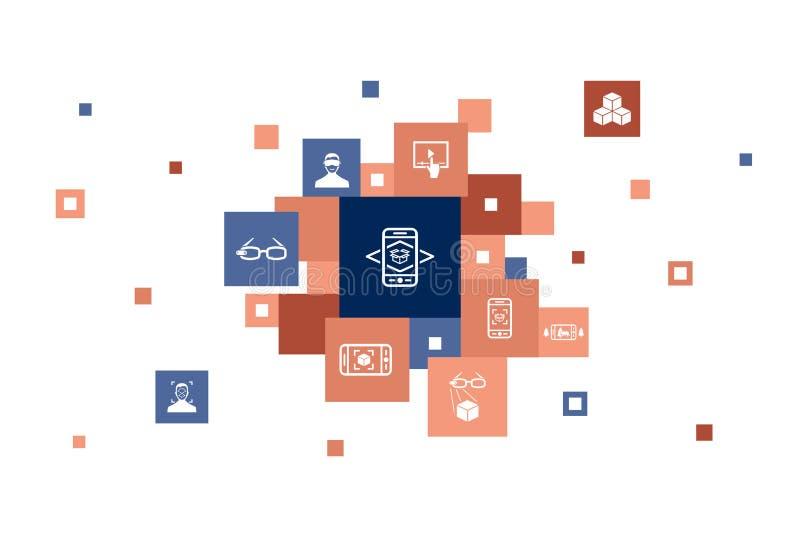 Επαυξημένη πραγματικότητα Infographic 10 βήματα απεικόνιση αποθεμάτων