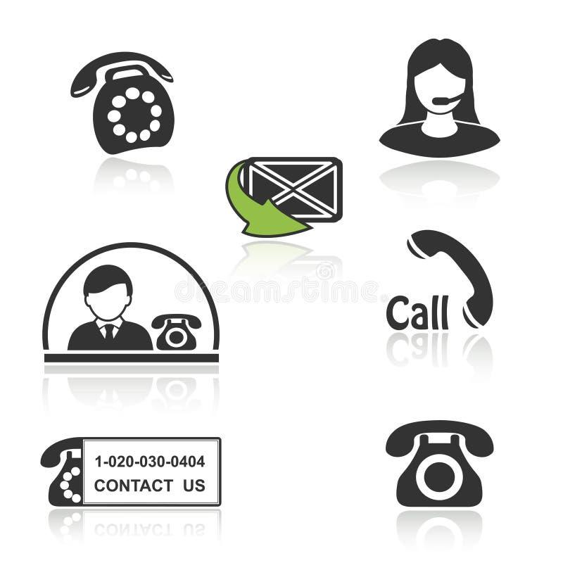 Επαφή, εικονίδια κλήσης - τηλεφωνικά σύμβολα με τη σκιά διανυσματική απεικόνιση