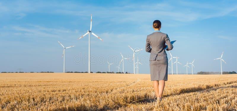 Επενδυτής στην πράσινη ενέργεια που εξετάζει τους ανεμοστροβίλους της στοκ εικόνες