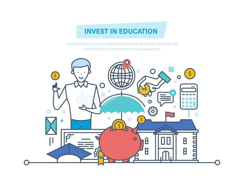 Επενδύστε στην εκπαίδευση Οικονομικές επενδύσεις στην εκπαίδευση, που παίρνει την προσδίδουσα γόητρο εκπαίδευση ελεύθερη απεικόνιση δικαιώματος