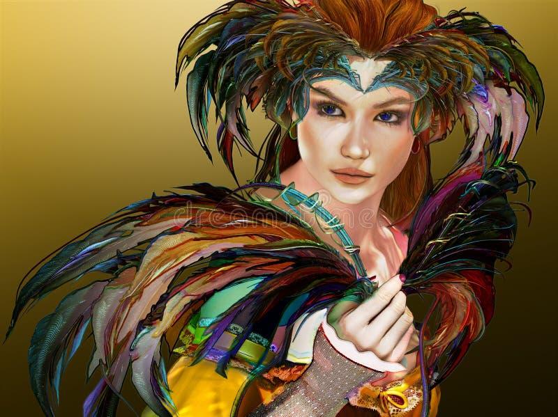 Επενδυμένο με φτερά κορίτσι, τρισδιάστατο CG απεικόνιση αποθεμάτων