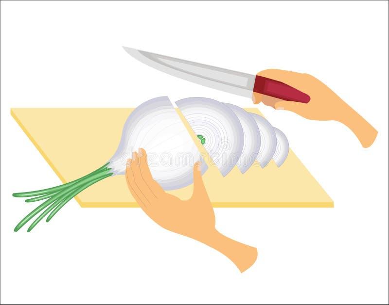 Επεξεργασία κρεμμυδιών Λαχανικά που κόβονται με ένα μαχαίρι στον πίνακα Προετοιμασία των νόστιμων, υγιών, υγιών τροφίμων r διανυσματική απεικόνιση