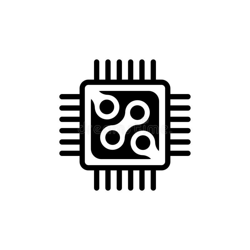 Επεξεργαστής μικροϋπολογιστών, επίπεδο διανυσματικό εικονίδιο κυκλωμάτων τσιπ ελεύθερη απεικόνιση δικαιώματος
