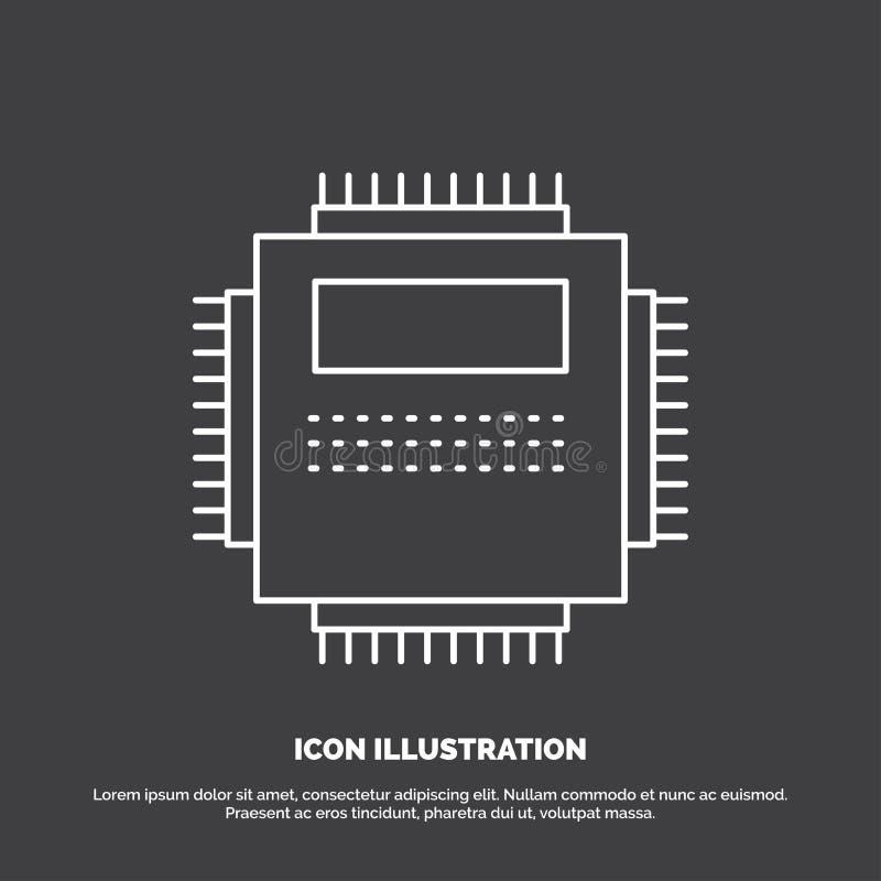 Επεξεργαστής, υλικό, υπολογιστής, PC, εικονίδιο τεχνολογίας Διανυσματικό σύμβολο γραμμών για UI και UX, τον ιστοχώρο ή την κινητή απεικόνιση αποθεμάτων