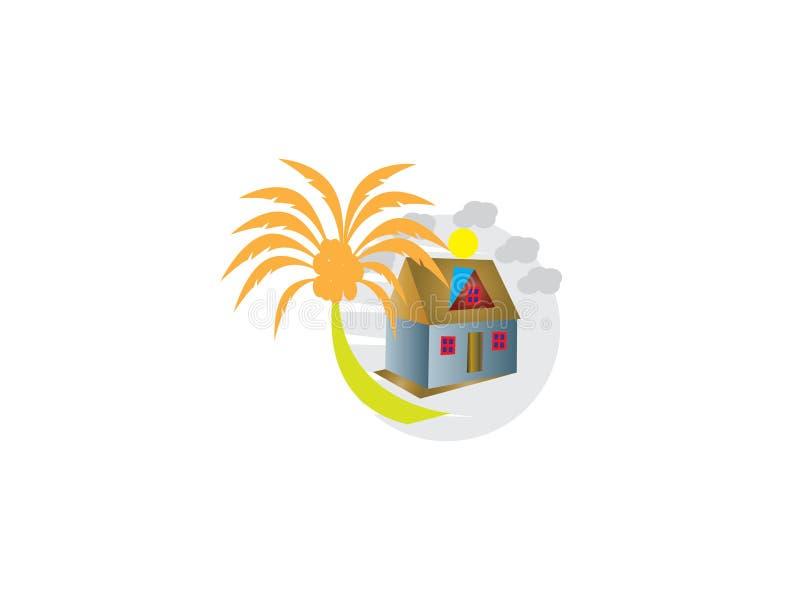 Επεξηγηματικό λογότυπο σπιτιών δέντρων για την περιβαλλοντική σχετική με την προσοχή επιχείρηση Σχέδιο στο άσπρο υπόβαθρο ελεύθερη απεικόνιση δικαιώματος