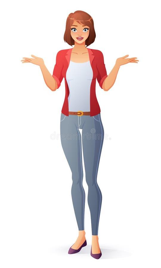 Επερώτηση της νέας χαριτωμένης γυναίκας που απαξιεί τους ώμους απομονωμένη ωθώντας s κουμπιών γυναίκα έναρξης χεριών απεικόνιση ελεύθερη απεικόνιση δικαιώματος
