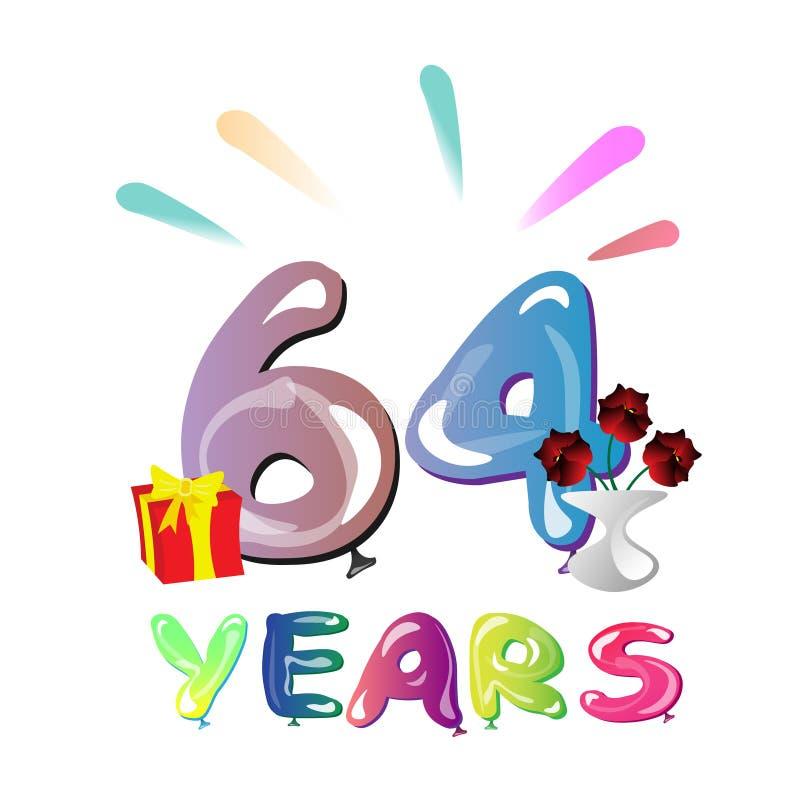 64 επετείου έτη ευχετήριων καρτών εορτασμού διανυσματική απεικόνιση