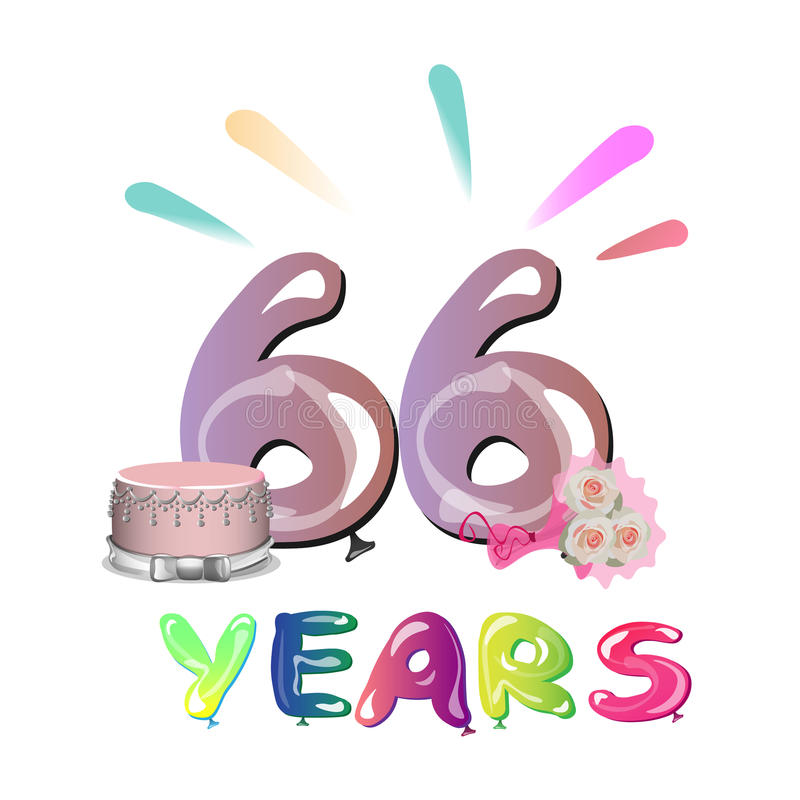66 επετείου έτη ευχετήριων καρτών εορτασμού απεικόνιση αποθεμάτων