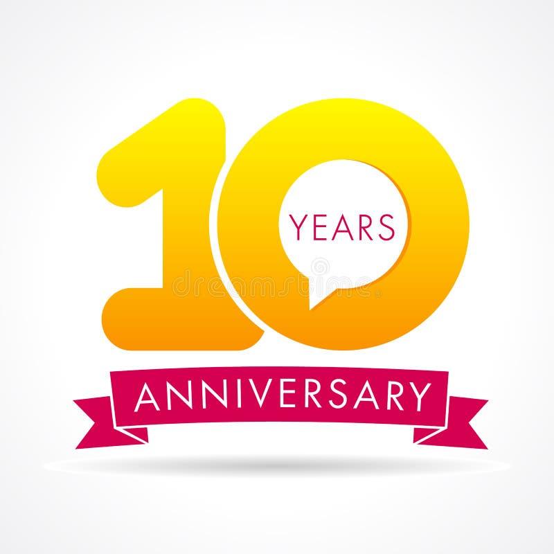 10 επετείου έτη λογότυπων επικοινωνίας διανυσματική απεικόνιση