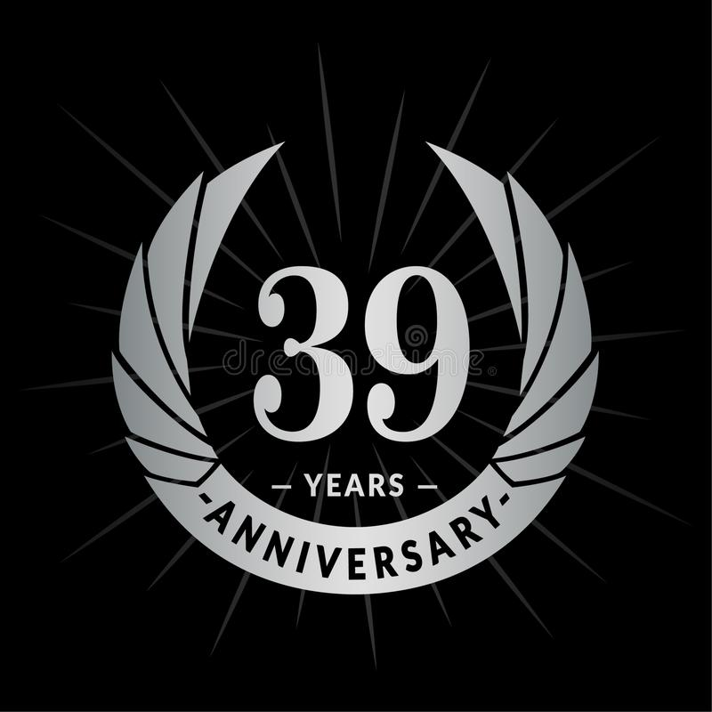 39 επετείου έτη προτύπων σχεδίου Κομψό σχέδιο λογότυπων επετείου Τριάντα εννιά έτη λογότυπων διανυσματική απεικόνιση