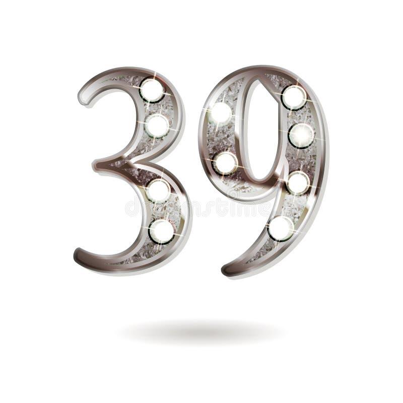 39 επετείου έτη σχεδίου εορτασμού απεικόνιση αποθεμάτων
