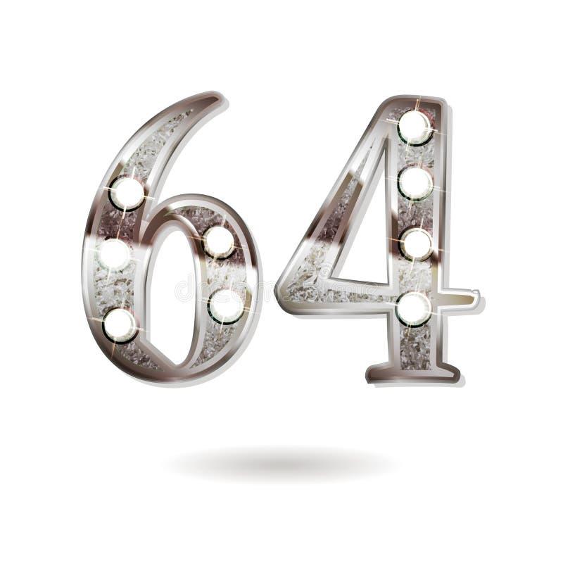 64 επετείου έτη σχεδίου εορτασμού διανυσματική απεικόνιση