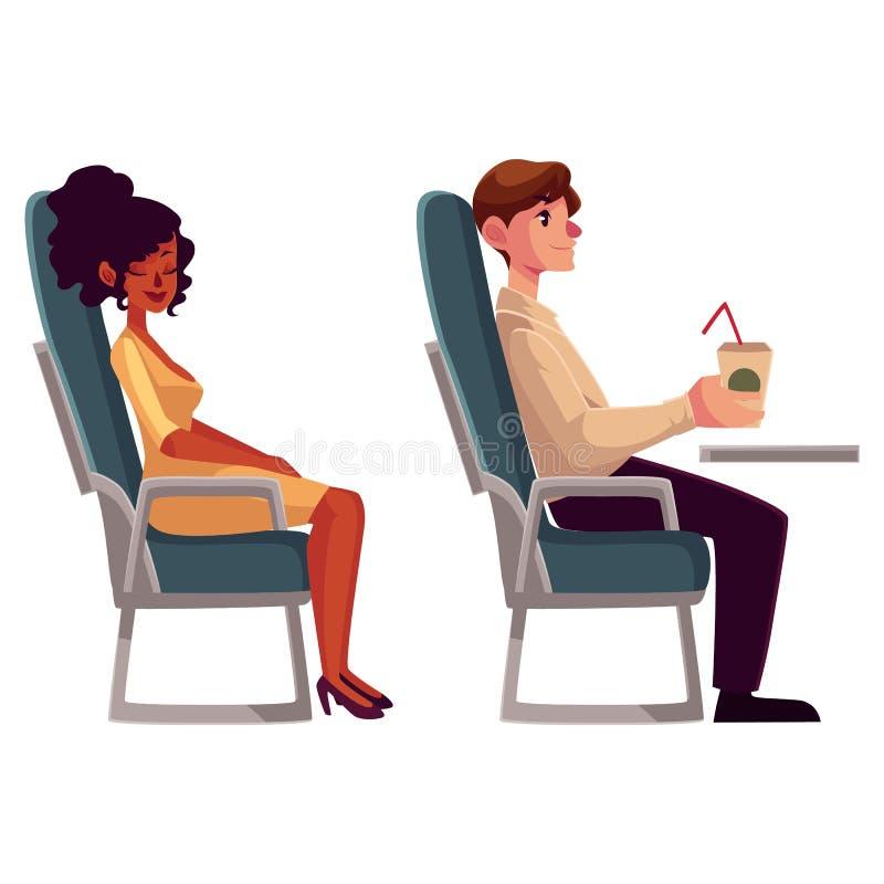 Επιβάτες αεροπλάνων - μαύροι, αφρικανικοί γυναίκα και καφές κατανάλωσης ανδρών απεικόνιση αποθεμάτων