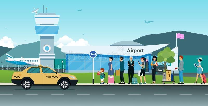 Επιβάτες που περιμένουν ένα ταξί διανυσματική απεικόνιση