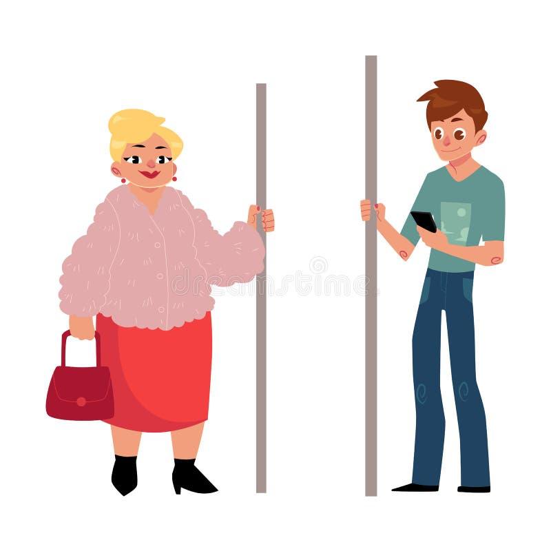 Επιβάτες υπογείων - παχουλή γυναίκα, νοικοκυρά και νεαρός άνδρας με το smartphone διανυσματική απεικόνιση