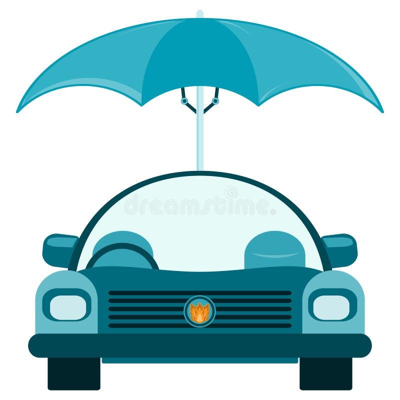Επιβατικό αυτοκίνητο κάτω από μια ομπρέλα απεικόνιση αποθεμάτων