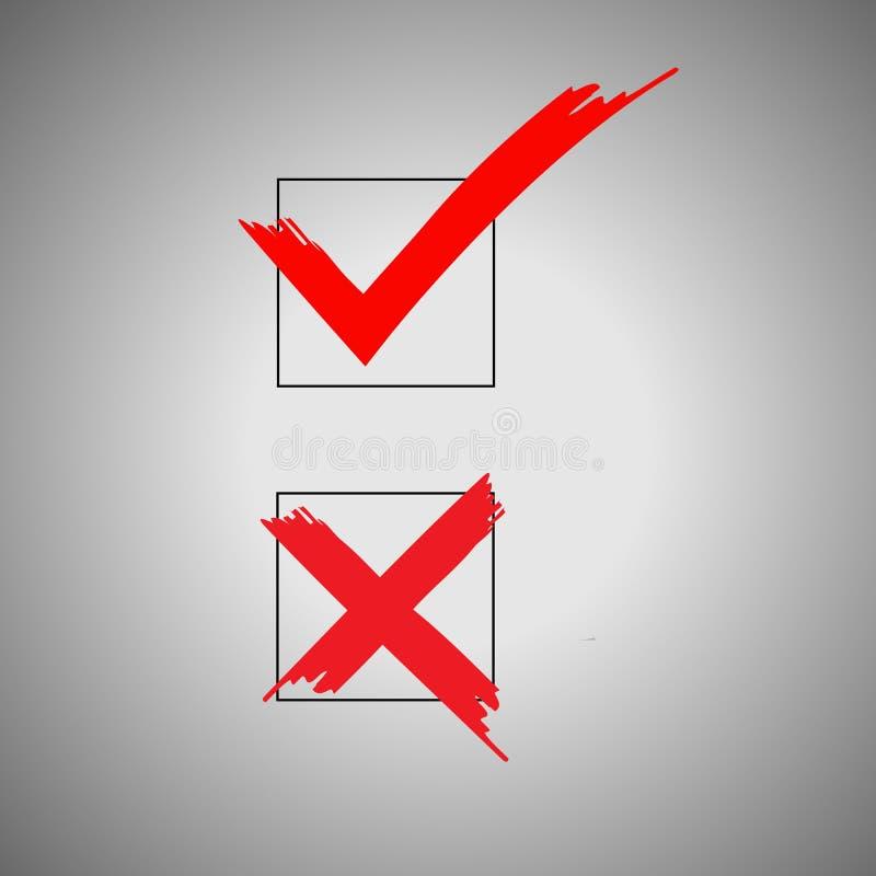 Επιβεβαιώστε και αρνηθείτε το επίπεδο εικονίδιο Το σημάδι επιβεβαιώνει και αρνείται Διανυσματικό λογότυπο για το σχέδιο, κινητός  διανυσματική απεικόνιση