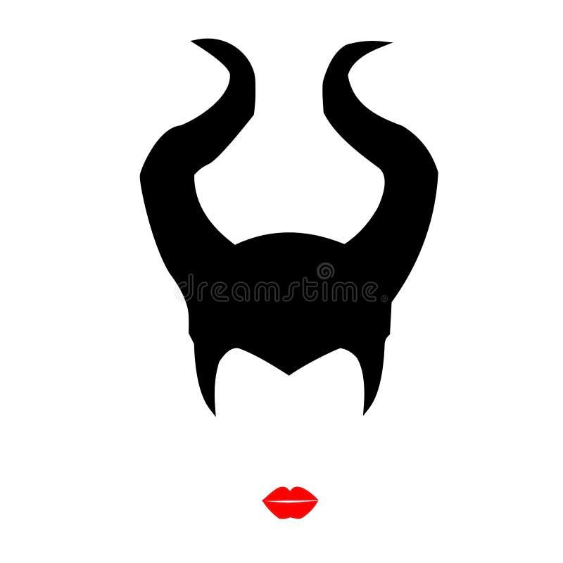 Επιβλαβής μια όμορφη μάγισσα με τα κόκκινα χείλια ελεύθερη απεικόνιση δικαιώματος