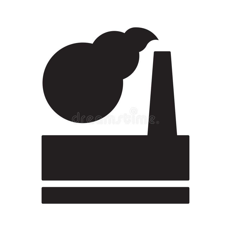 Επιβλαβείς εκπομπές εγκαταστάσεων στην ατμόσφαιρα που απομονώνονται στο λευκό Μαύρο διανυσματική απεικόνιση