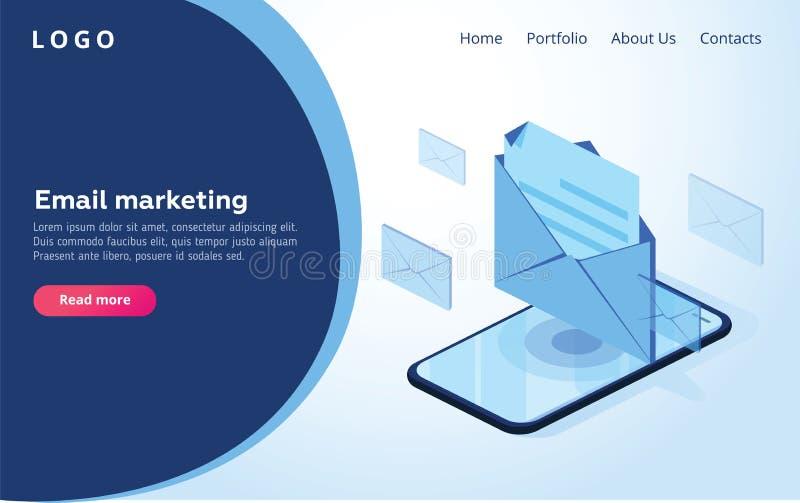 Επιγραφή για τον ιστοχώρο homepage Έννοια του κινητού notificati ηλεκτρονικού ταχυδρομείου διανυσματική απεικόνιση