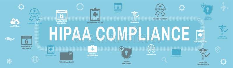 Επιγραφή εμβλημάτων Ιστού συμμόρφωσης HIPAA με το ιατρικό σύνολο εικονιδίων και tex διανυσματική απεικόνιση
