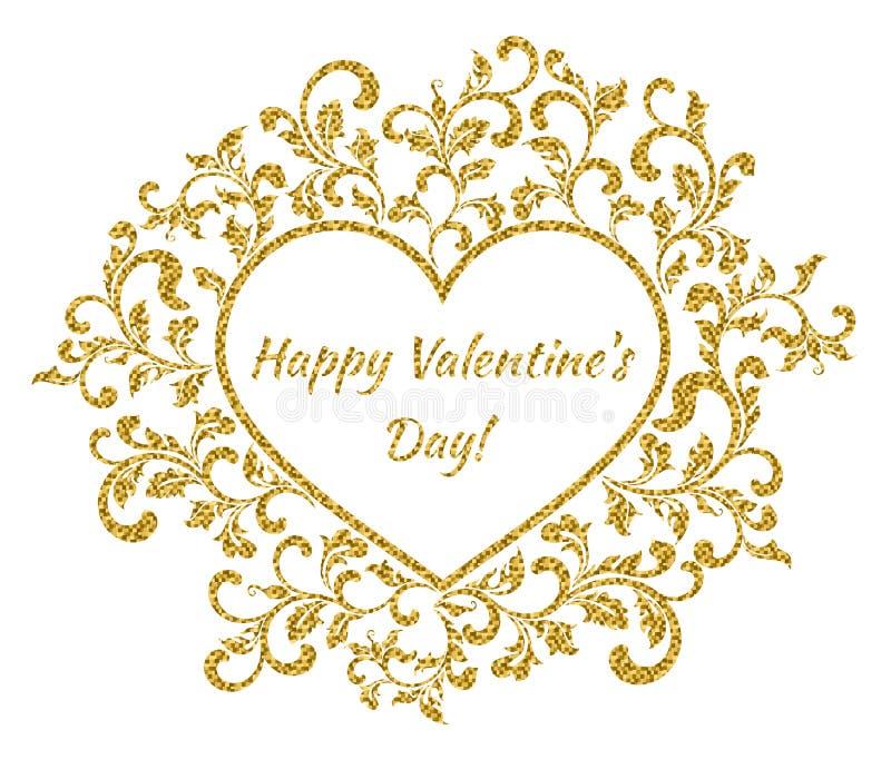 Επιγραφή: Ημέρα του ευτυχούς βαλεντίνου μέσα στο πλαίσιο με μορφή μιας καρδιάς με ένα σχέδιο λουλουδιών ελεύθερη απεικόνιση δικαιώματος