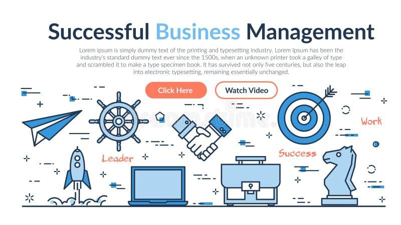 Επιγραφή ιστοχώρου - επιτυχής διοίκηση επιχειρήσεων διανυσματική απεικόνιση