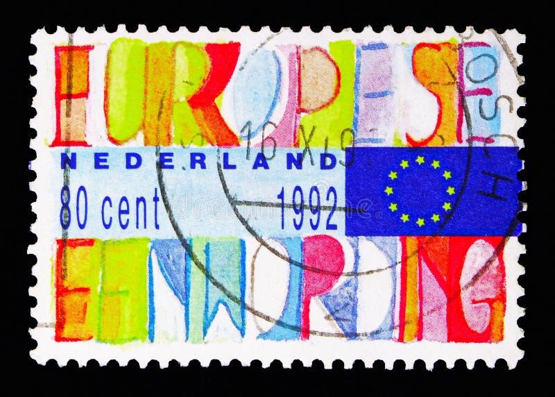 Επιγραφή και ευρωπαϊκή σημαία, ενωμένη Ευρώπη serie, circa 1992 στοκ εικόνες με δικαίωμα ελεύθερης χρήσης
