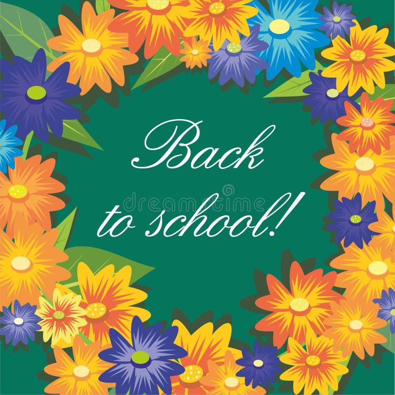 Επιγραφή πίσω στο σχολείο στο υπόβαθρο των πράσινων πινάκων κιμωλίας και των λουλουδιών ελεύθερη απεικόνιση δικαιώματος