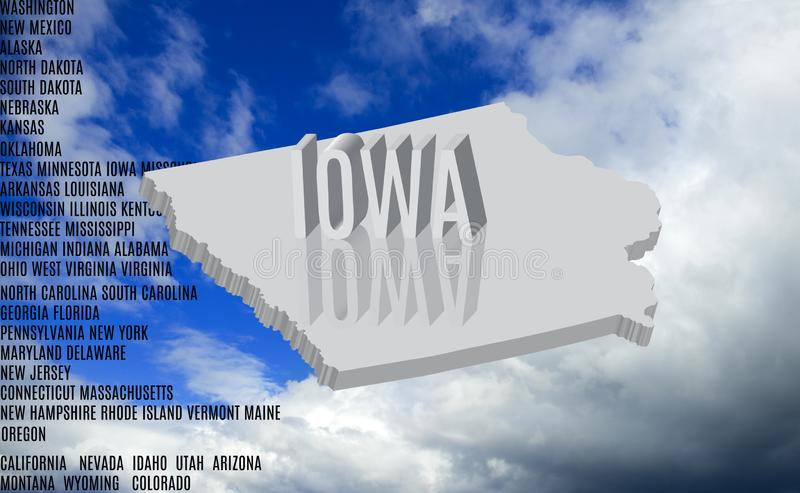 επιγραφή του Iowa στην κινηματογράφηση σε πρώτο πλάνο υποβάθρου ουρανού ελεύθερη απεικόνιση δικαιώματος