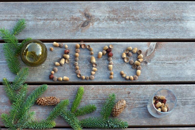 Επιγραφή 2019, φιαγμένη επάνω από βελανίδια σε ένα ξύλινο υπόβαθρο με έναν πράσινο κλάδο ενός χριστουγεννιάτικου δέντρου στοκ εικόνα με δικαίωμα ελεύθερης χρήσης