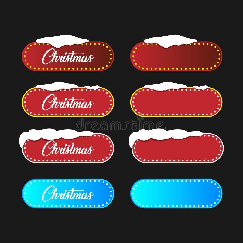 Επιγραφή Χριστουγέννων στις κόκκινες και μπλε ελλείψεις σε ένα μαύρο υπόβαθρο Διανυσματική απεικόνιση για μια ευχετήρια κάρτα διανυσματική απεικόνιση