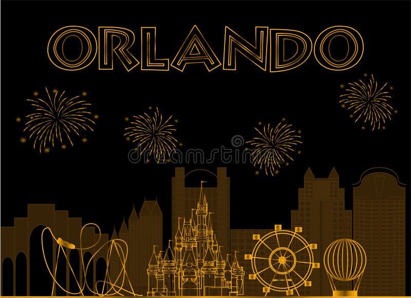 Επιγραφή Orlando gold στο μαύρο φόντο Διάνυσμα με ταξιδιωτικά εικονίδια και πυροτεχνήματα διανυσματική απεικόνιση