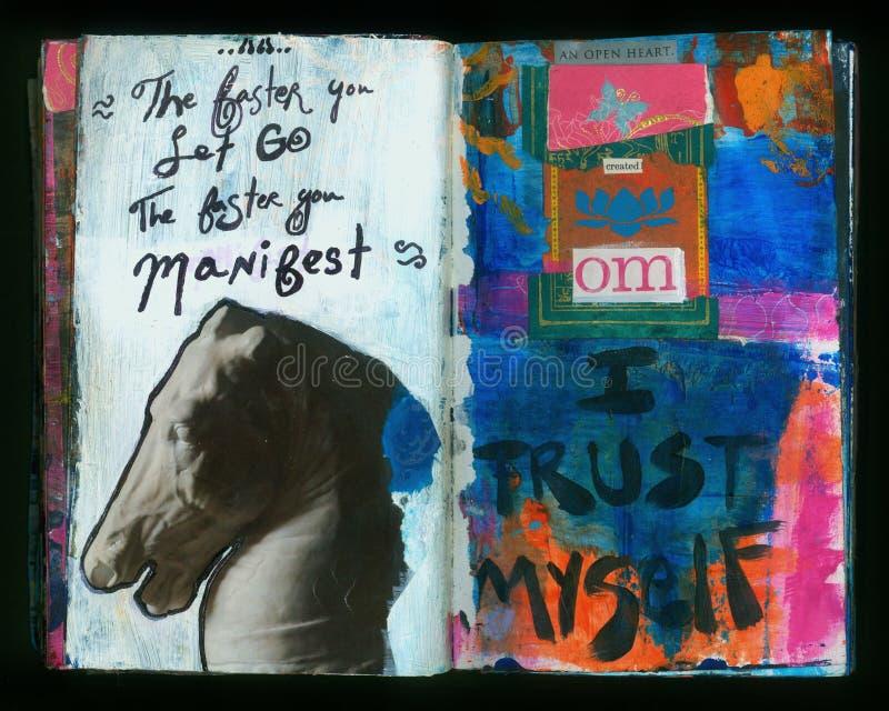 ΕΠΙΔΕΙΞΗ του καλλιτέχνη του τρελλού περιοδικού τέχνης κολάζ φρόνησης χειροποίητου διανυσματική απεικόνιση