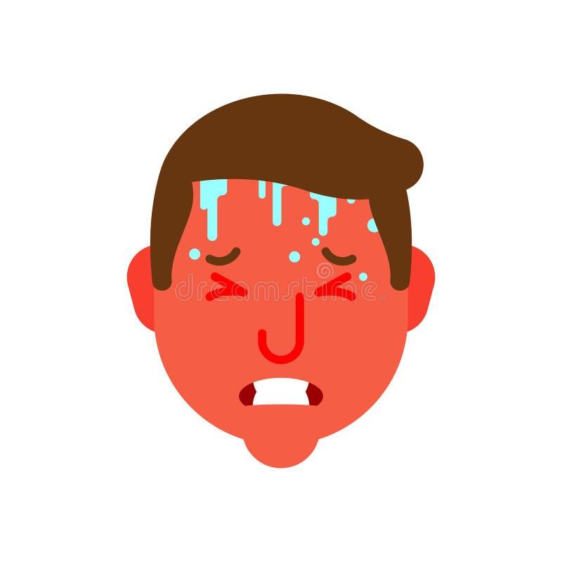 Επιδημικό κεφάλι simpotomy θερμότητας και θερμοκρασίας Κόκκινο πρόσωπο Hothead Ιδρώτας στο μέτωπο κρύα γρίπη Μεταφορά των προβλημ απεικόνιση αποθεμάτων