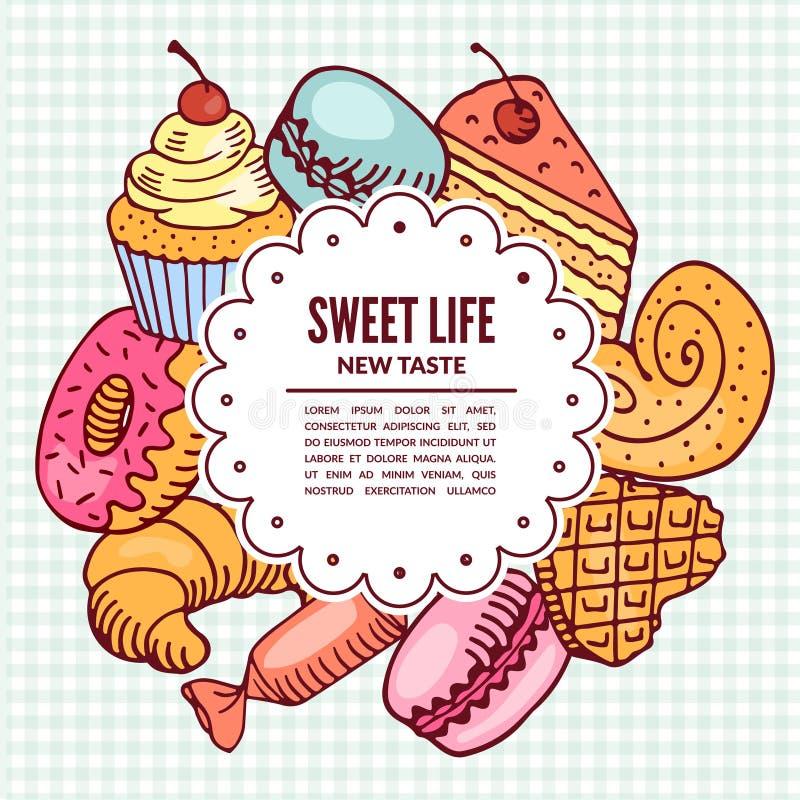 Επιδόρπια βιομηχανιών ζαχαρωδών προϊόντων Αρτοποιείο και καφές ελεύθερη απεικόνιση δικαιώματος