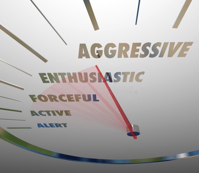 Επιθετική ενθουσιώδης ισχυρή ενεργός τολμηρή ταχύτητα ταχυμέτρων απεικόνιση αποθεμάτων