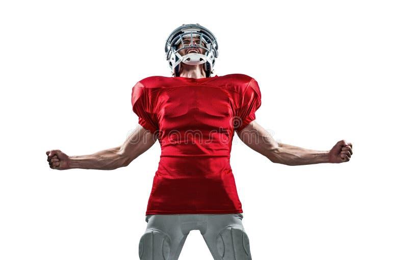 Επιθετικός φορέας αμερικανικού ποδοσφαίρου στην κόκκινη κραυγή του Τζέρσεϋ στοκ φωτογραφία με δικαίωμα ελεύθερης χρήσης