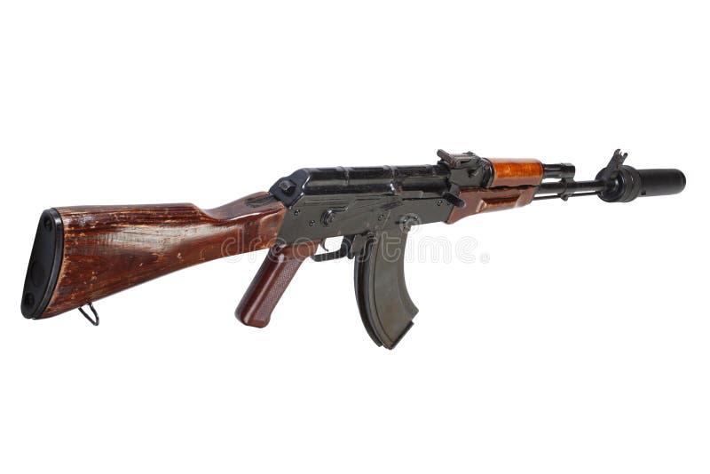 Επιθετικό τουφέκι AK 47 με τον υγιή καταπιεστή (ησυχαστήρας) στοκ εικόνες με δικαίωμα ελεύθερης χρήσης