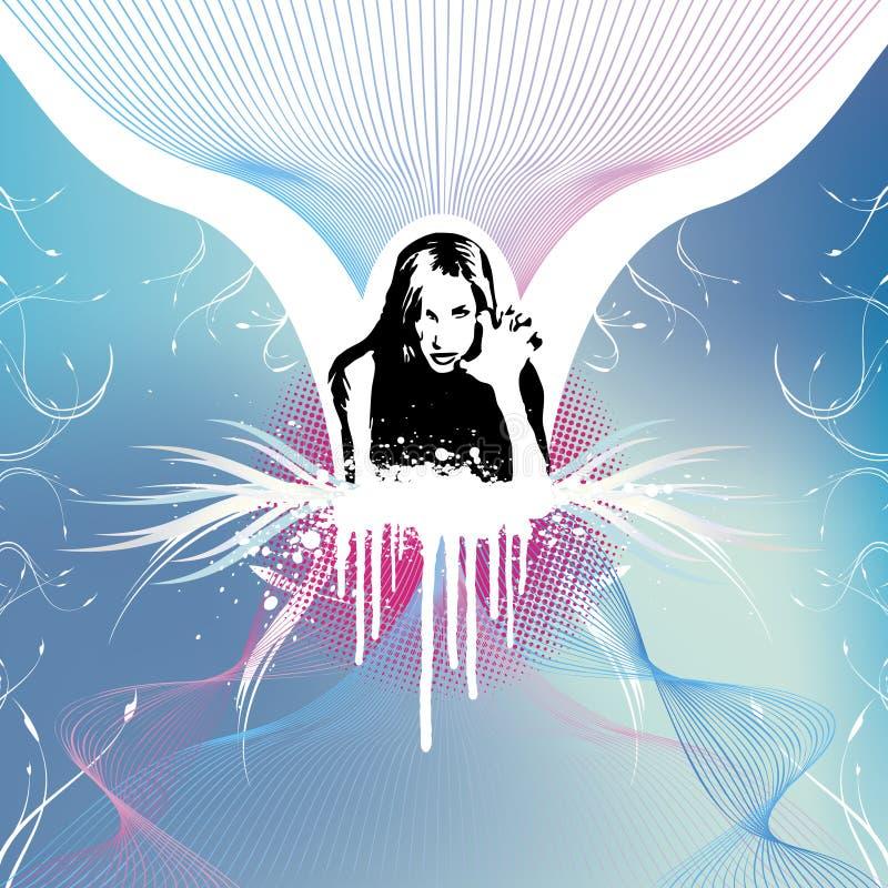 επιθετικό floral κορίτσι ανασκόπησης grunge ελεύθερη απεικόνιση δικαιώματος