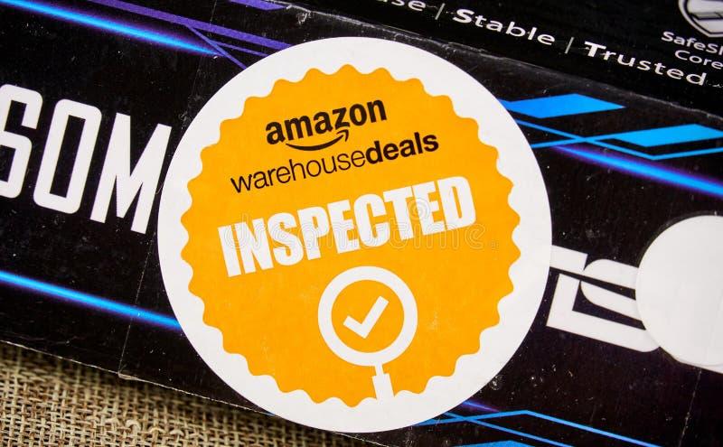 Επιθεωρημένο αποθήκη εμπορευμάτων λογότυπο του Αμαζονίου στοκ φωτογραφία