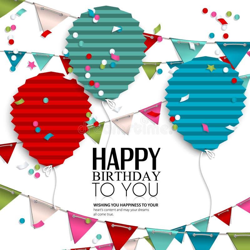 Επιθυμία γενεθλίων με τις σημαίες και τα μπαλόνια υφάσματος μέσα στοκ εικόνες με δικαίωμα ελεύθερης χρήσης