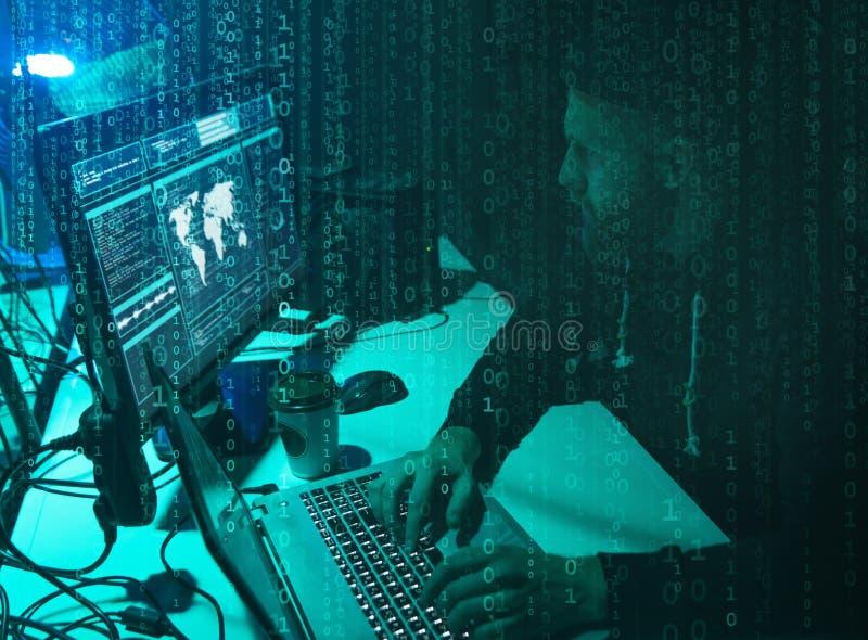 Επιθυμητοί χάκερ που κωδικοποιούν τον ιό ransomware που χρησιμοποιεί τα lap-top και τους υπολογιστές Επίθεση Cyber, σπάσιμο συστη στοκ εικόνα με δικαίωμα ελεύθερης χρήσης