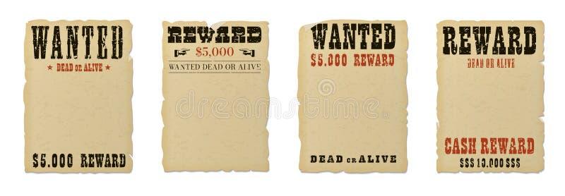 Επιθυμητό νεκρό ή ζωντανό κενό πρότυπο αφισών διανυσματική απεικόνιση