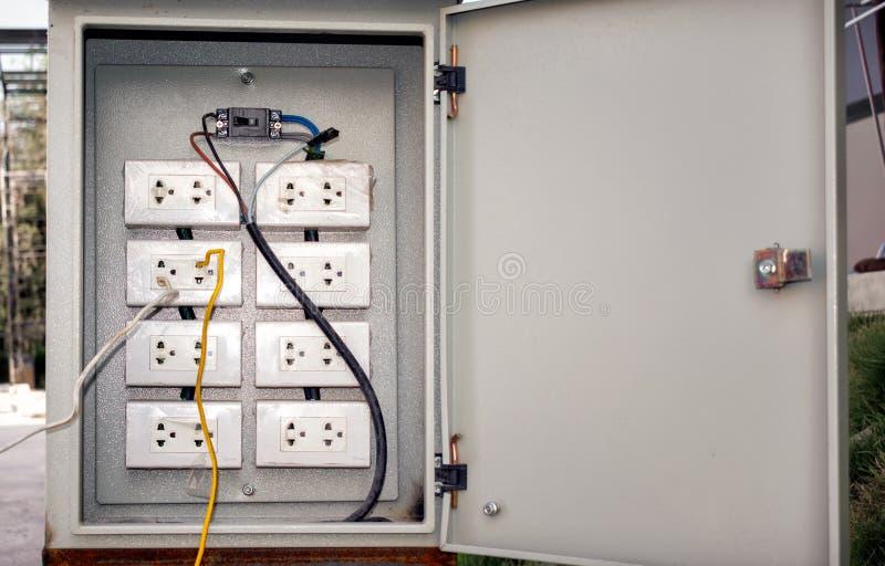 Επικίνδυνα συνδεμένες με καλώδιο ηλεκτρικές υποδοχές σε ένα κιβώτιο διακοπτών στοκ εικόνες