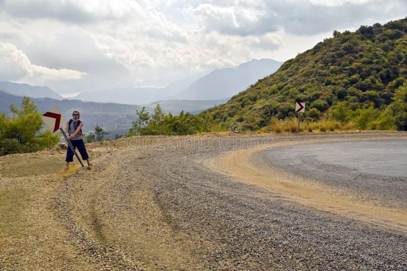 επικίνδυνος hitchhiker κάμψεων ε&ga στοκ εικόνες