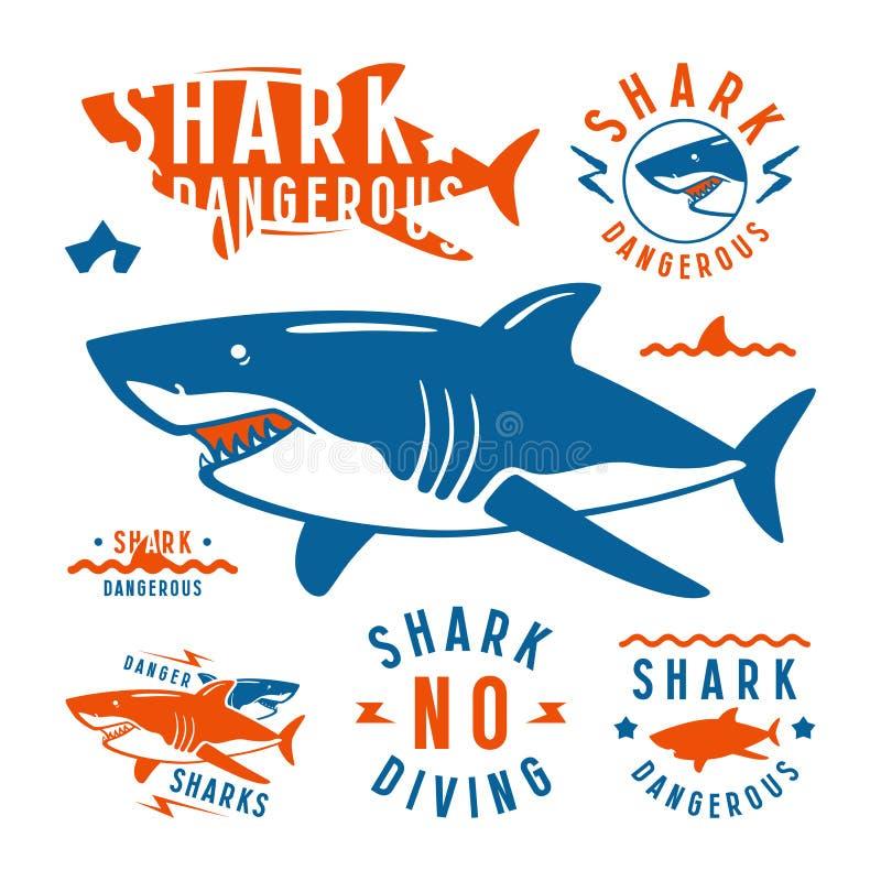 Επικίνδυνα εμβλήματα καρχαριών διανυσματική απεικόνιση