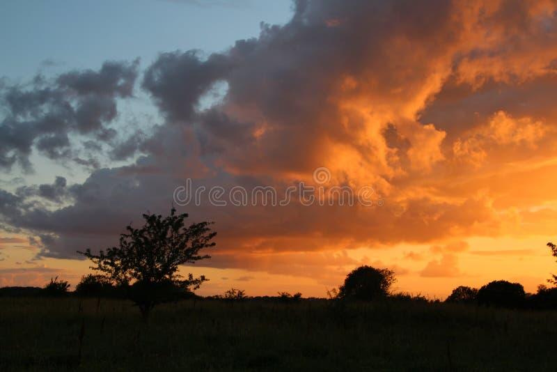 Επικίνδυνα σύννεφα στο ηλιοβασίλεμα στοκ φωτογραφία με δικαίωμα ελεύθερης χρήσης