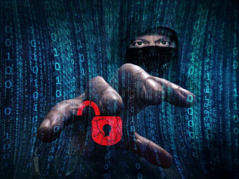 Επικίνδυνα stealing στοιχεία χάκερ - έννοια στοκ εικόνα με δικαίωμα ελεύθερης χρήσης