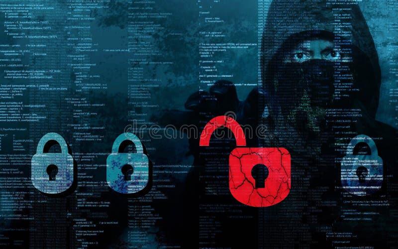 Επικίνδυνα stealing στοιχεία χάκερ - έννοια στοκ φωτογραφία